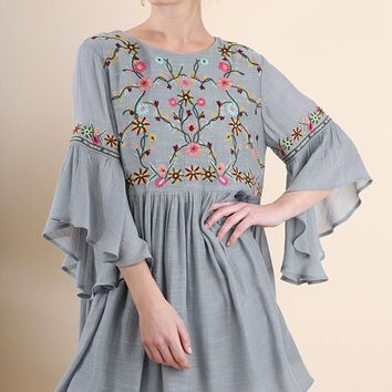Umgee Grey Embroidered Dress