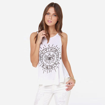 Fashion Boho Astrology Pattern Print Vest Sleeveless Women T-shirt Tops