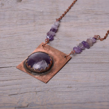bohemian necklace amethyst pendant copper necklace amethyst jewelry stone necklace  women gift mom metal necklace february birthstone