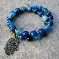 Calm and Communication, Blue agate 27 bead wrap mala bracelet™