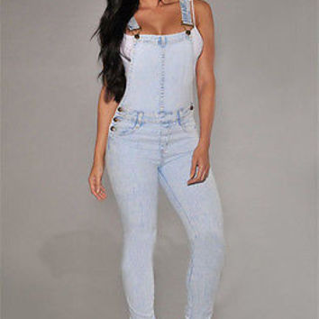 Women Girls Washed Jeans Denim Casual Hole Loose Jumpsuit Romper Overall