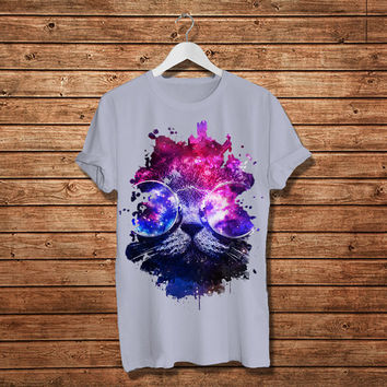 Cat Glasses Galaxy T-Shirt, Cats Shirt - Love Cat Women T-Shirt (Available Various Color)