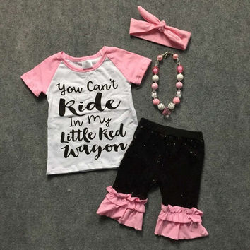 You Can Ride In My Little Red Wagon Sequin Short Set and Accesories