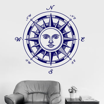 Vinyl Wall Decal Sun Compass Windrose Nautical Art Bedroom Decor Stickers (075ig)