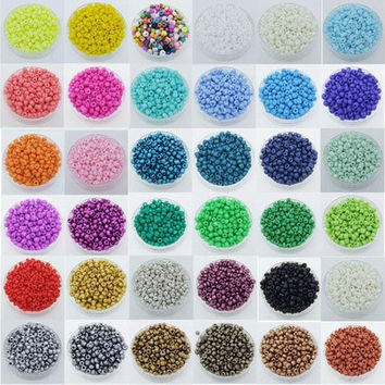 1000pcs Round Opaque Lot Colorful Glass Seed Beads Jewelry Making  [9305861639]