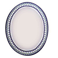 Oval Mosaic Mirror, Geometric Wall Decor, Navy Blue White Green