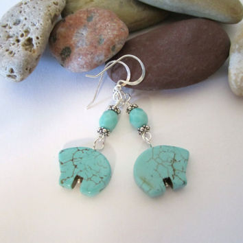 Bear Earrings - Dyed Howlite by 636designs