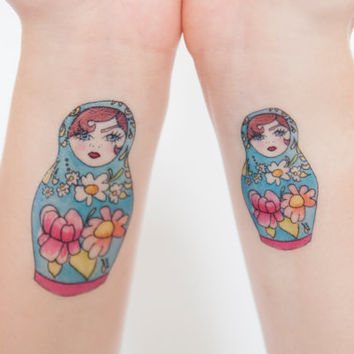 Russian Dolls Temporary Tattoo, Tattoo Temporary, Blue, Modern Illustration, Birthday Present, Birthday Gift, Gift Ideas, Watercolor Art