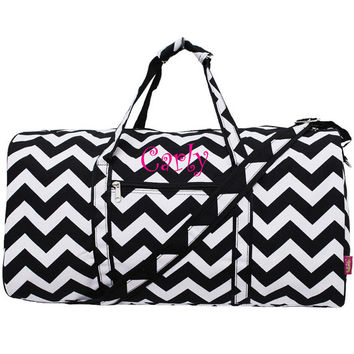 Personalized Monogrammed Duffle Bag Chevron Black and White Overnight Weekend Bag Luggage Bridesmaids Gift