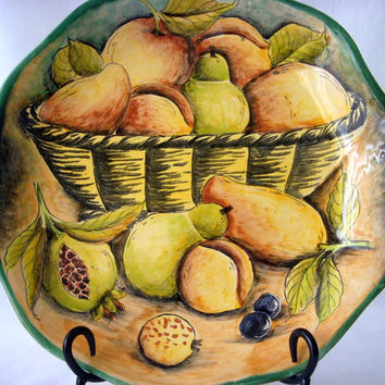 Vintage Santa Rosa Display Plate, Mexico Pottery Plate, Hand Painted Fruit Design, Mexico Majolica Plate Wall Hanging, Southwestern Decor
