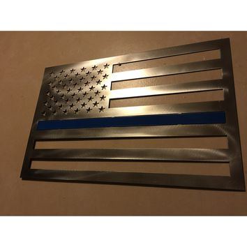 Thin Blue Line Flag / 2 Footer / Metal Art