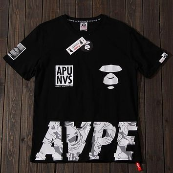 Aape 2019 new street fashion men and women camouflage printed round neck half sleeve t-shirt Black