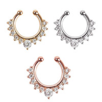 2Pieces Women Rhinestone Fake Septum Clicker Nose Ring Non Piercing Hanger Clip On Jewelry