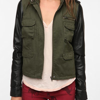 Urban Outfitters - Staring at Stars Faux Leather Sleeve Surplus Jacket