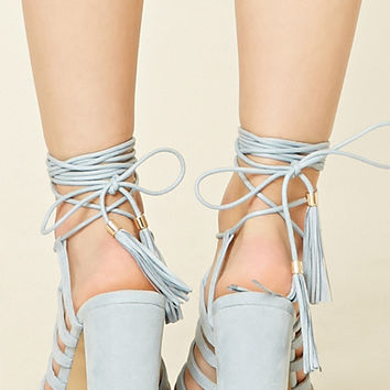 Faux Suede Lace-Up Heels