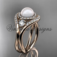14kt rose gold unique diamond Three stone Pearl engagement ring VP8245