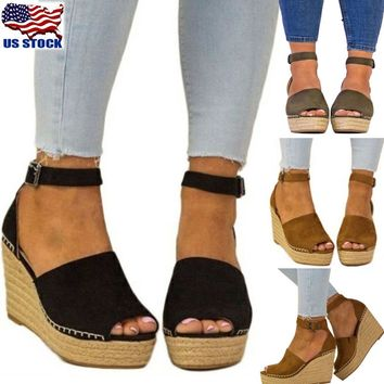 Women Ankle Strap Open Toe Wedge Sandal Espadrilles Platform High Heels Shoes US