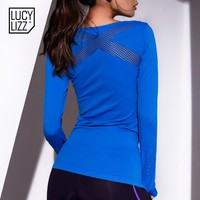 Women Hollow Out Yoga Shirts Sports Mesh Top Tees Long Sleeve Tshirt Mesh Femme Fitness Running Gymnastics Clothing Bodysuits