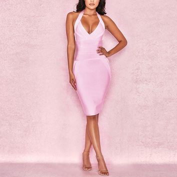 Pink Halter Top Sleeveless Bandage Dress