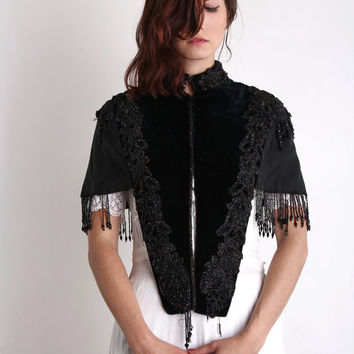 Victorian Beaded Shawl . Antique 1800s Cape . WEARABLE ART