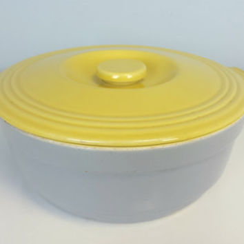 "Vintage Yellow Gray GE Refrigerators Hall Ovenware China with Lid, 10"" Hall Bakeware Dish with Lid, Mid Century Modern Kitchen Yellow Gray"