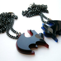 Best Friends Batman Necklaces -  Friendship Necklaces - Batman and Robin -  Laser Cut Acrylic