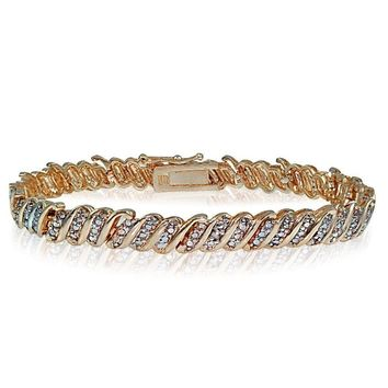 Genuine Diamond Accent Wave Tennis Bracelet in Rose Gold Plated Brass