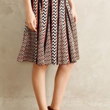 Chevron Striped Skirt by Ranna Gill Black Motif