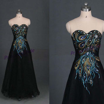 2014 long black tulle prom dresses hot,unique ambroidered gowns for party,cheap sweetheart homecoming dress under 150.
