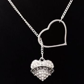 Heart Crystal Grandma Nana Valentine's Day Gift Lariat Style Necklace