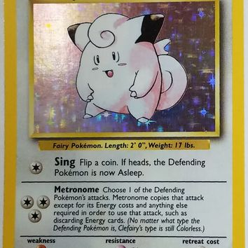 Pokemon CLEFAIRY 5/102 ~ HOLO RARE ~ Unlimited Edition Pokemon Base Set TCG NM