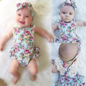 2PCS Set Newborn Floral Baby Girl Clothes 2017 Summer Sleeveless Cotton Ruffles Romper Baby Bodysuit +Headband Outfits Sunsuit