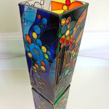 Abstract vase. Hand painted glass