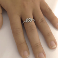 Infinity Knot Diamond Ring 14k White Gold or Yellow Gold Wedding Band
