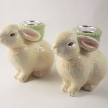 Bunny Candle Holders, Vintage Rabbit Candlesticks, Ceramic Glass Candle Holders Table Centerpiece, Cute Animal Decor