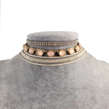 Spring Boho Style Lace Choker Gold Plated Crystal Coins Pendant Necklace Vintage