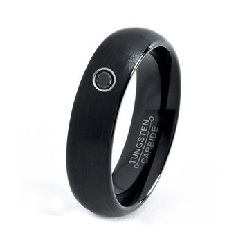 Mens Tungsten Carbide Wedding Band Ring 6mm Black Diamond Enamel Satin Brushed 5-15 Half Sizes Comfort Fit Round Domed Custom Engraved
