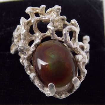 Vintage Wax Cast Sterling Silver Mexican Jelly Opal Ring 7.5