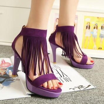 Brand New Sexy Women Platform Sandals Red Black Purple Ladies High Heel Tassel Shoes Open Toe AYE-1 Plus Big Size 32 43