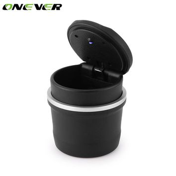 Onever Portable LED Ashtray For Car Black Ashtrays With Lids Cylinder Cigarette Ashtray With Detachable Storage Box For BMW Ford