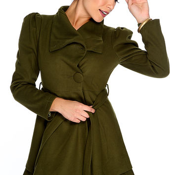 Army Green Button Up Waist Tie Cute Fall Coat