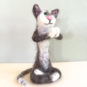 Needle felted cat felting yoga art yoga cat figurine yoga animal yoga art feng shui namaste miniature cat sculpture cat art white grey cute