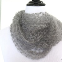 Grey silk long loop scarf, hand crochet luxury cowl gift for her