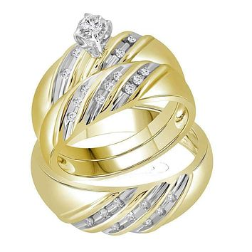 14kt Yellow Gold His & Hers Round Diamond Round Matching Bridal Wedding Ring Band Set 1/4 Cttw - FREE Shipping (US/CAN)