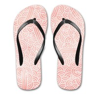 'Rose quartz and white swirls doodles' Flip Flops by Savousepate on miPic