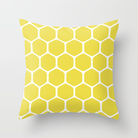 bee nest yellow pattern Throw Pillow by Jcks