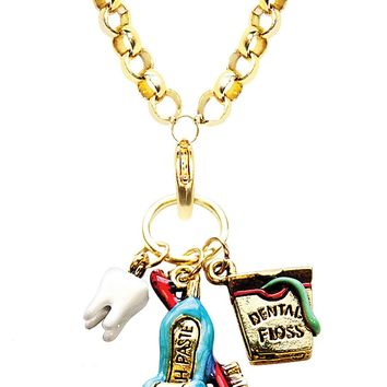 Dental Assistant Charm Necklace in Gold