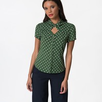 Vintage Style Green & White Polka Dot You Never Know Crepe Blouse