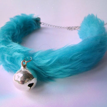 Furry Kitten Play Collar, Kawaii Turquoise Bell Choker, DDLG Fur Kitten Collar, Kitty Bell Choker, Sweet Lolita Cosplay Collar Faux Fur