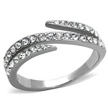 Sparkle Star - FINAL SALE Tri split band multiple diamond-cut CZ stones silver stainless steel ring